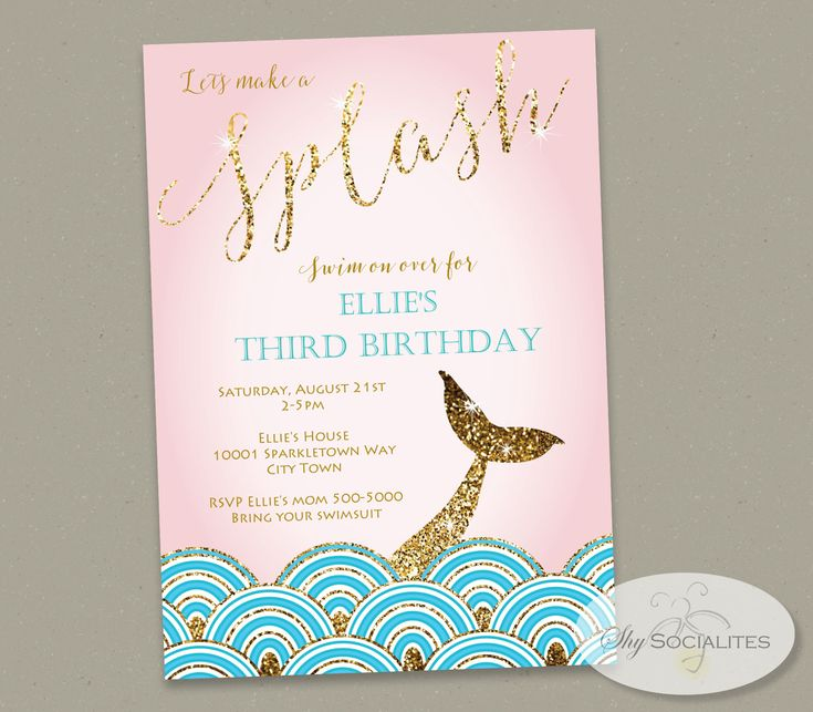 Gold Glitter Mermaid Tail Invitation by Shy Socialites