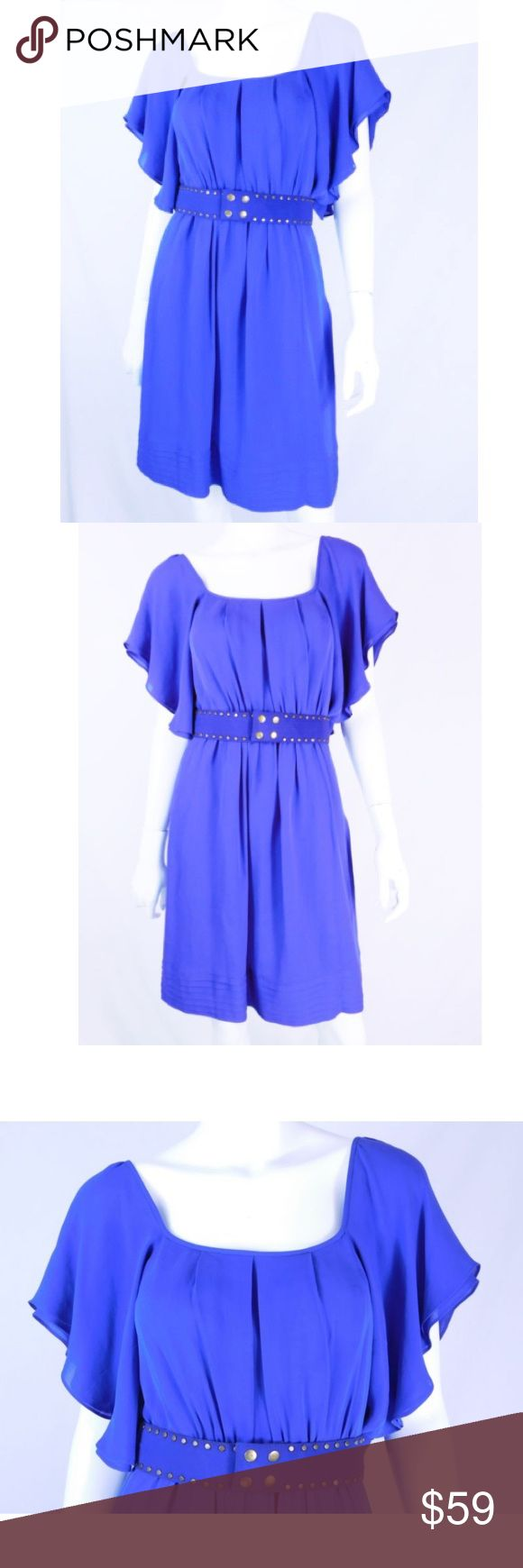 """Shoshanna Royal Blue Silk Belted Party Dress Shoshanna Royal Blue Silk Belted Party Dress - Size 4 Size 4 100% silk, Lining 100% acetate Royal blue color Belted with snap closure Side zipper Flutter styled arms  Condition: Pristine condition (Second hand item-has been worn by previous owner).  Measurements  Length: 44"""" Chest: 36.5"""" Waist: 29"""" Hips: 40.5""""                                    100% Authenticity Guarantee + Hassle Free Returns Shoshanna Dresses"""
