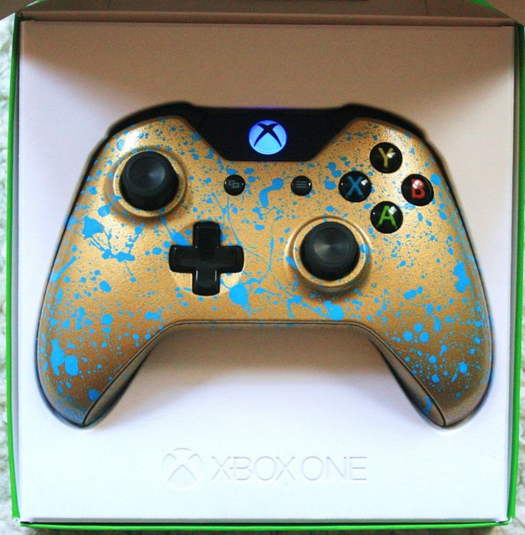 #Xbox One Custom Controller BRAND NEW *** LED BLUE MOD ***Gold and blue splash in Video Games & Consoles, Accessories, Controllers | eBay