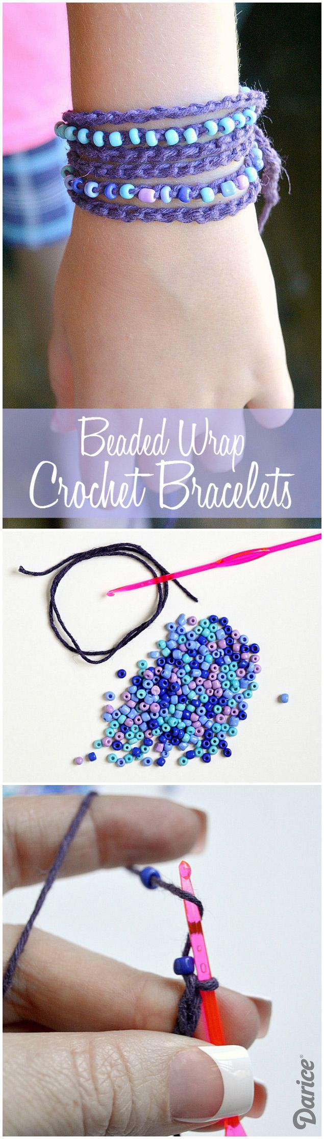 DIY Beaded Wrap Crochet Bracelets