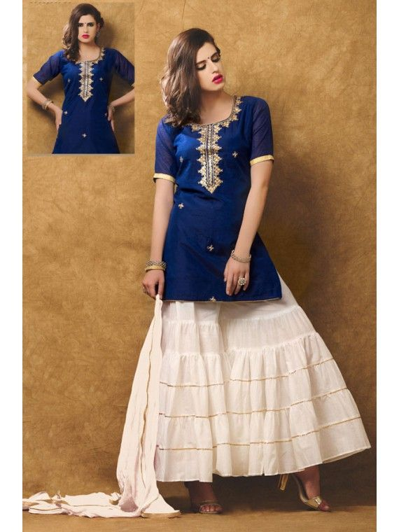 Glamorous Navy Blue and White Designer Sharara Kameez