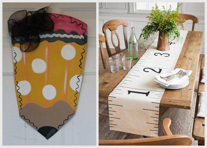 Back to school decor, ruler table runner, pencil wall decor, classroom decor, Keith Watson Events