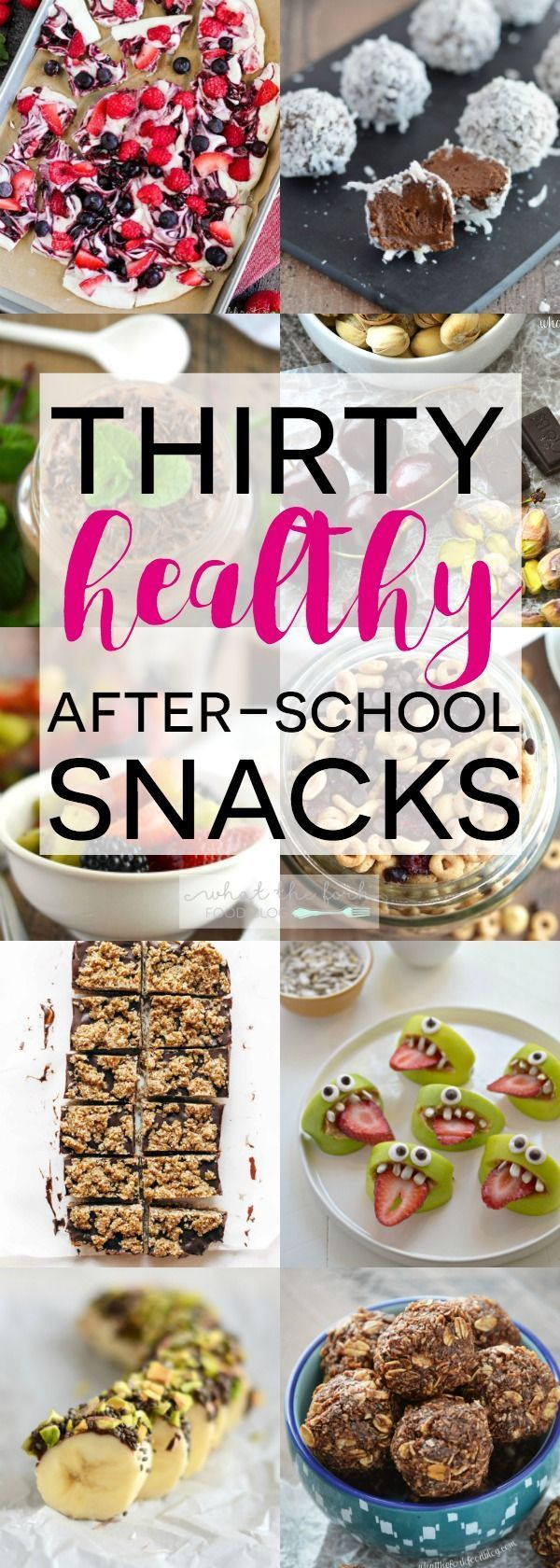 A list of 30 Healthy After-School Snacks to help you and your kids power through the afternoon. All are simple, easy to make recipes and are kid-friendly. From @Sharon | What The Fork Food Blog | whattheforkfoodbl...