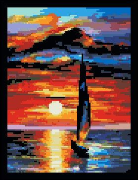 Toward The Sun- Counted Needle Point and Cross Stitch Chart Patterns. via Etsy.