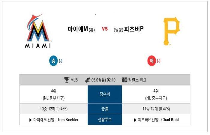 [MLB] 5월 01일 마이애미 vs 피츠버그 ★토토군 분석★