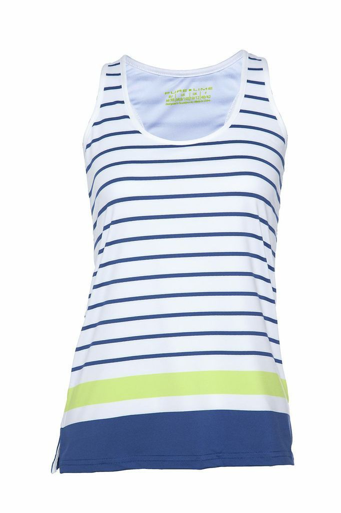Pure Lime Tennis Women's Stripe Tank - White/Limoges/Brite Lime