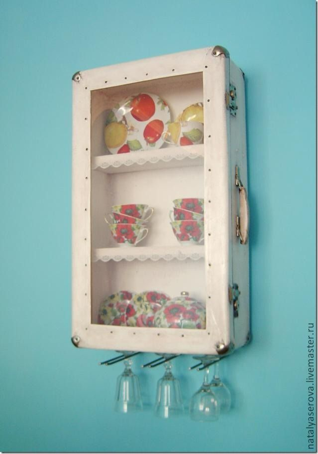 So want to do this: transform a suitcase into a kitchen cabinet.  DIY howto