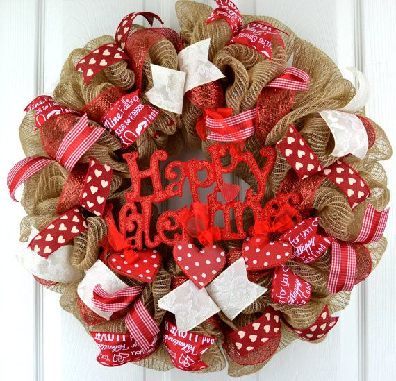 Burlap Valentines wreath Valentine decor Valentine Love all these beautifully handcrafted wreaths for valentine's day. Perfect decor to add a little bit of seasonal love to your front door, porch, or patio. Love this rustic farmhouse wreath idea.#rustic #farmhouse #wreath #vday #valentinesday #afflink