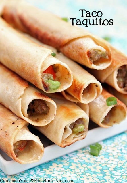 Taco Taquitos - tortillas stuffed, rolled & pan fried - fillings are taco seasoned meat, avocado, cheddar cheese, salsa and sour cream!