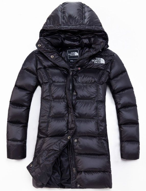 Cheap North Face Women Hooded Long Down Jacket Black