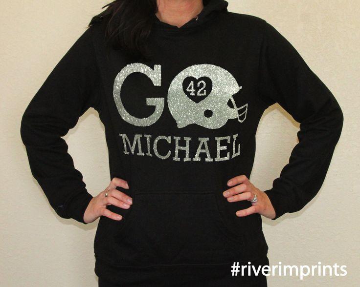 Hoodie GO HELMET FOOTBALL sweatshirt, personalized lightweight glittery sweatshirt- choose from 2 styles