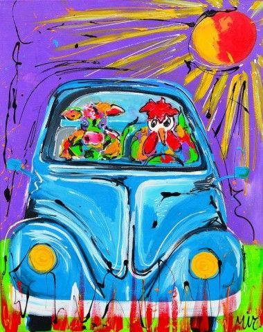 On the way in VW kever schilderij