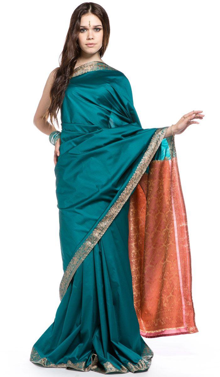 Индийское сари, зеленое сари из Индии, Indian sari, green sari from India. 11 200 рублей