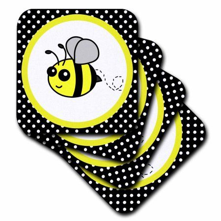 3dRose Cute Yellow Bumble Bee On Black And White Polka Dots Soft Coasters Set