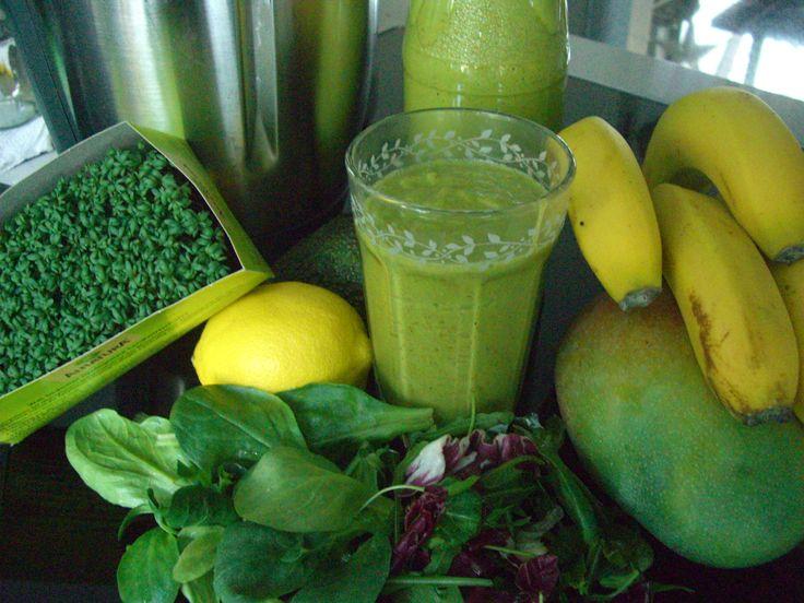 Grüner Smoothie - Antioxidanten für Vitalität/Verjüngung und Figurkontrolle durch Chlorophyll in grünem Blattgemüse!