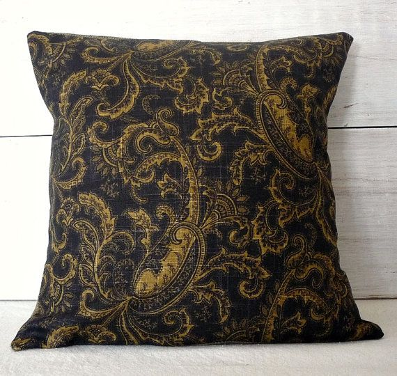 Black and Gold Paisley Pillow Cover - Traditional Pillow Cover - Black Throw Pillow - Black and Gold Decor  This elegant black and gold paisley pillow cover will fit in with many styles including french, farmhouse, traditional and industrial. This black and gold throw pillow cover has an envelope back of black canvas.  This fabric is very limited. Only a few pillows left. All inner raw edges are zigzag stitched to prevent fraying. Stress points are triple stitched. The pillow slip has a…