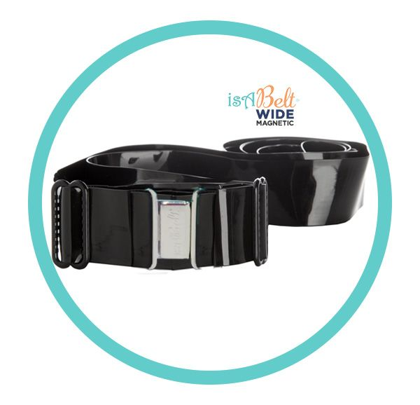 """Black MAGNETIC Belt is 1"""" wide belt with new magnetic metal clasp, a UNISEX belt without bulk."""