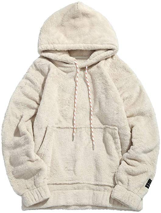 b3e19c48e Amazon.com: KENANCY Mens Solid Casual Fluffy Hoodie with Pocket Oversized  Pullover Sweatshirt (Warm White, SMALL): Clothing