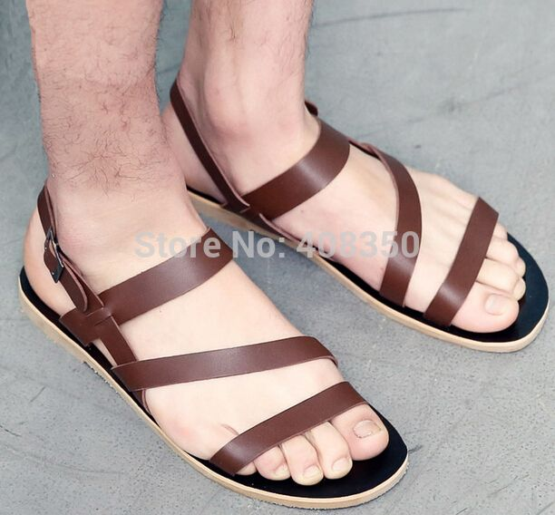 Men's Fashion Soft Microfibric Leather Gladiator Sandals Casual Leisure  Black Brown Flat Sandalias Mujer Shoes 2015