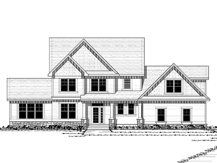 New American House Plan Has 4 Large Bedrooms Basement Walk In Pantry Open