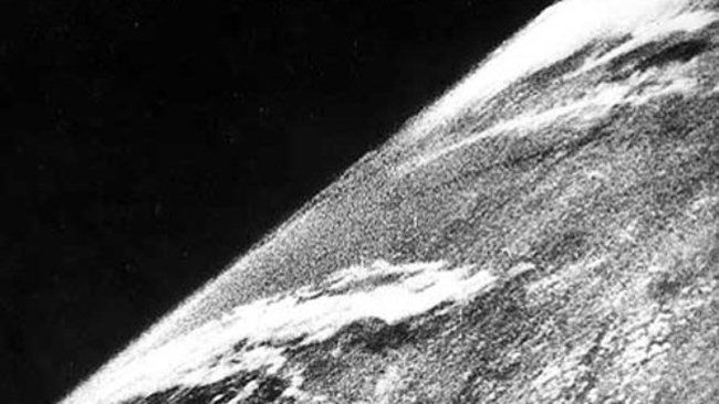 The first photo of the Earth from space. Taken from a camera on a V-2 #13 rocket, launched October 24, 1946.