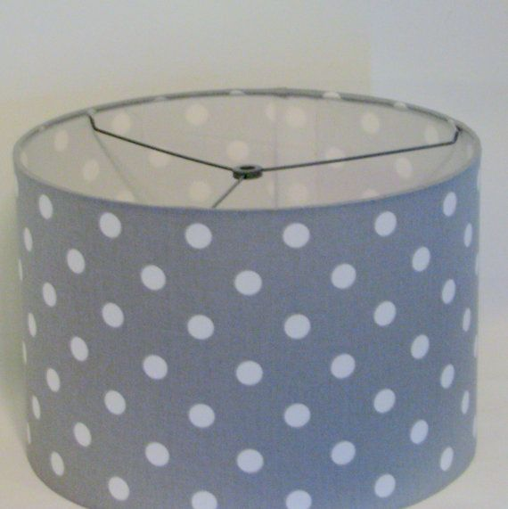 Drum Lamp Shade grey and white polka dot / by elladeandesign, $65.00