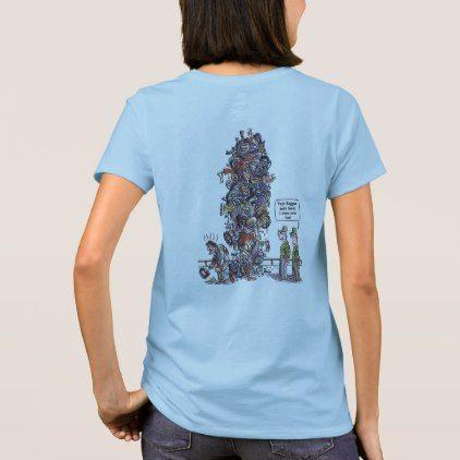 Biggest Sore Loser women cartoon blue shirt back - humor funny fun humour humorous gift idea