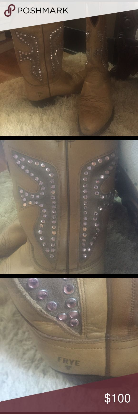 FRYE DAISY DUKE Golden Tan Western Style Boots Gorgeous tan/gold color with light pink stones. Both toes are a bit scuffed but still in excellent condition. Wore while pregnant now too big. Frye Shoes