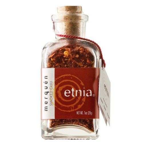 Merquen (also spelled merken), a traditional spice of the indigenous Mapuche people of Chile.The spice is a ground mixture of dried and smoked aji cacho de cabra (goat's horn red pepper), cumin, coriander seeds, and salt.  Etnia Chilean Merquen Smoked Chili Corked Bottle, Click below  1oz (28 gm)
