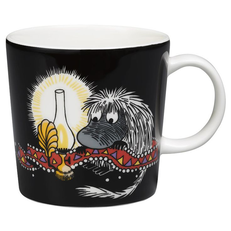 "This new black Moomin mug by Arabia features the Ancestor. It's beautifully illustrated by Arabia artist Tove Slotte and the illustrations can be seen in the original book ""Moominland Midwinter"" by Tove Jansson. Complete your collection of Moomin mugs with this beautiful piece. Also see the other parts of the ceramic Ancestor series by Arabia.Tämän uusimman mustan Arabian Esi-isä -mukin on kuvittanut Arabian taiteilija Tove Slotte. Alkuperäiset kuvitukset löytyvät Tove Janssonin kirjasta…"