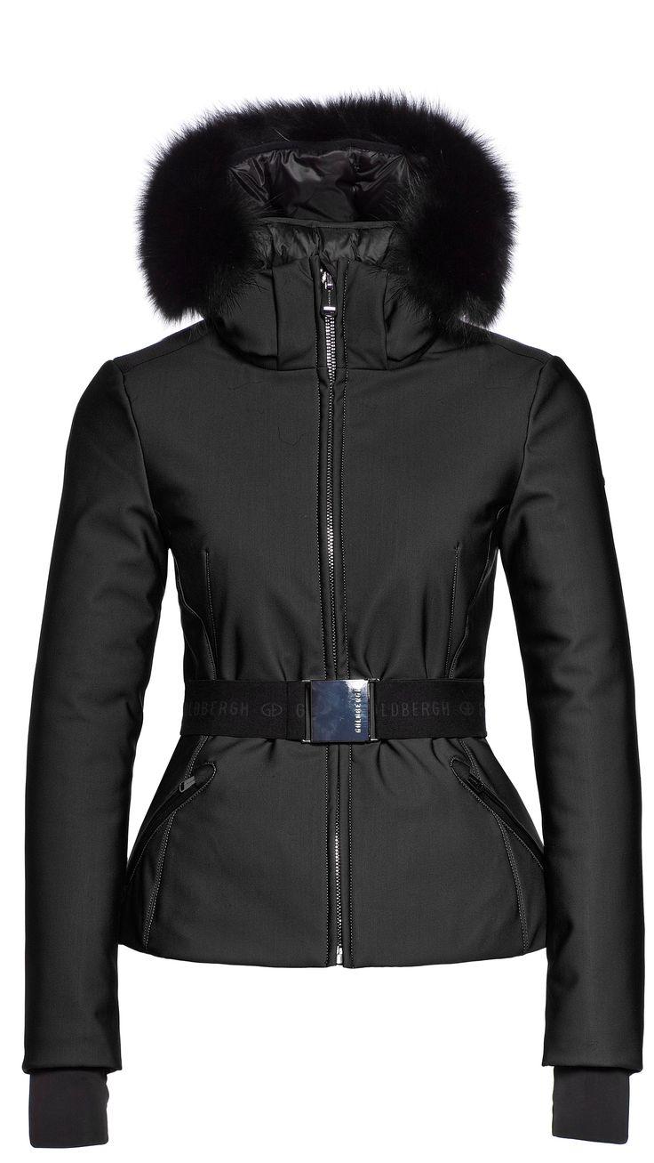 Goldbergh Hida black ski jacket with belt and fur trim from Winternational