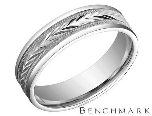 Benchmark Mens Comfort Fit Wedding Band In White Gold Lifetime Guarantee Wess Ring
