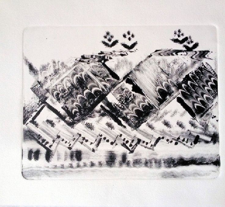 Original Oil Monotype Print 'BC Mountains' by DoodleArtbyBee on Etsy