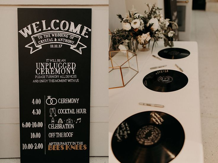 Bride designed her own wedding sign with records as a guest book The Camby  Hotel
