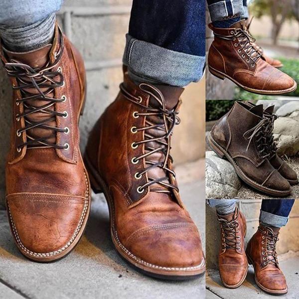bottes cuir vintage homme