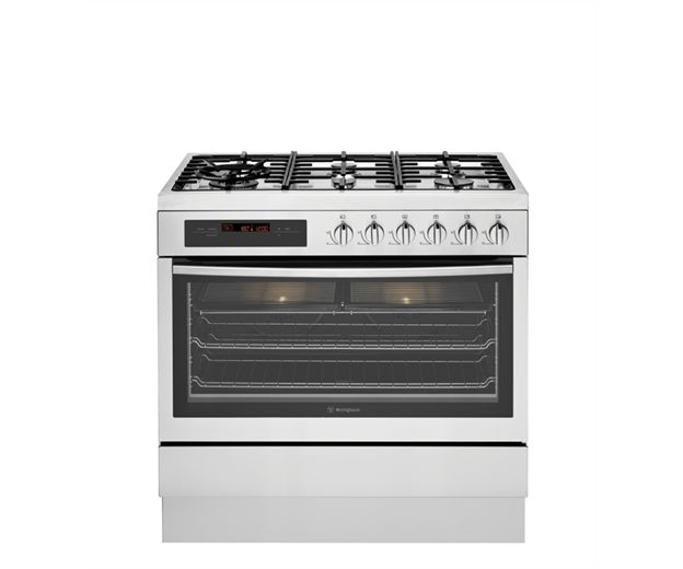 Westinghouse 90cm dual fuel freestanding cooker (model WFE916SA)  for sale at L & M Gold Star (2584 Gold Coast Highway, Mermaid Beach, QLD). Don't see the Westinghouse product that you want on this board? No worries, we can order it in for you!