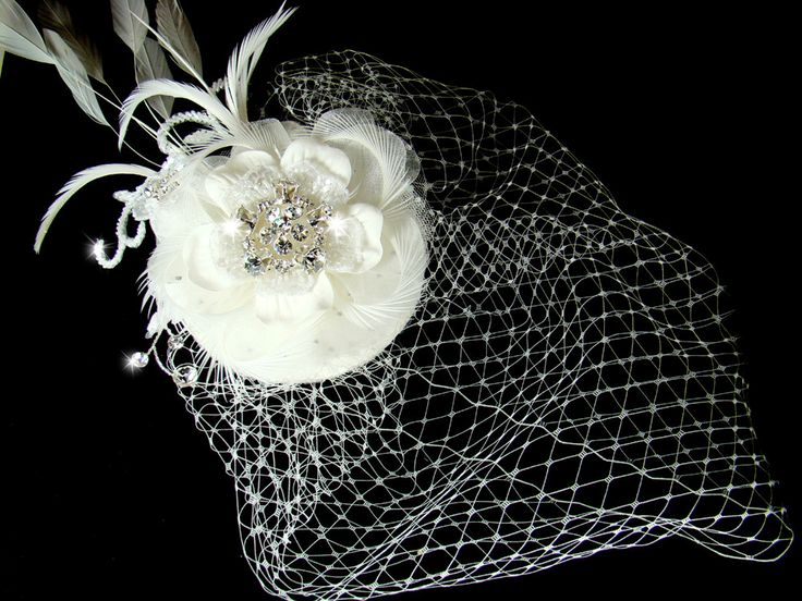 Exquisite Bridal Hat and Birdcage Veil on Clip in