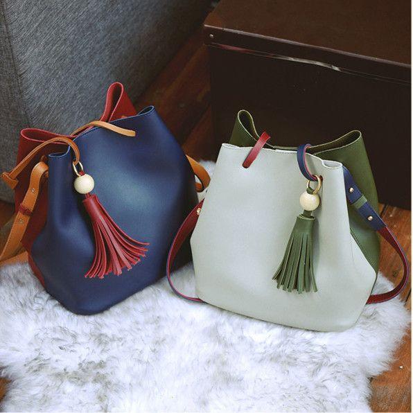 New Design Tassel Candy Handbags Girls And Ladies Color Working Bag Women Casual Shopping Bag Fashion Quality PU Bucket Handbag