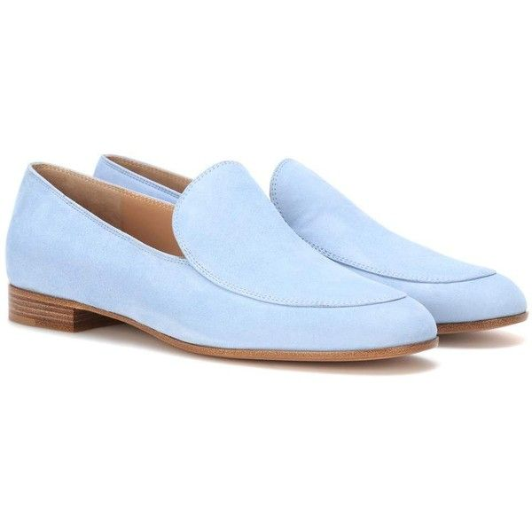 Gianvito Rossi Marcel Suede Loafers ($630) ❤ liked on Polyvore featuring shoes, loafers, blue, blue suede shoes, suede loafers, loafers moccasins, suede shoes and blue suede loafers