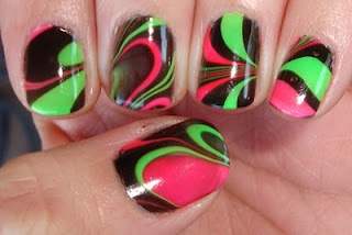 Neon and Black Water Marble Nails