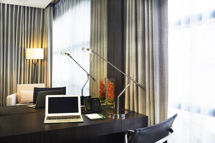 Spacious working space in guest rooms
