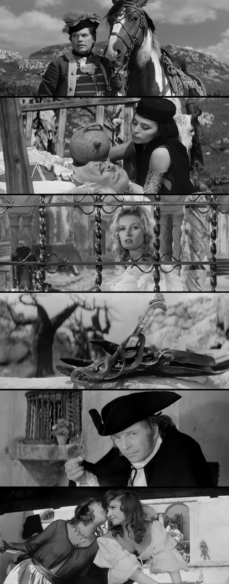 The Saragossa Manuscript (Wojciech Has, 1965) - Upon finding a book that relates his grandfather's story, an officer, Alfonse Van Worden (played by Zbigniew Cybulski, top), ventures through Spain meeting a wide array of characters, most of whom have a story of their own to tell.