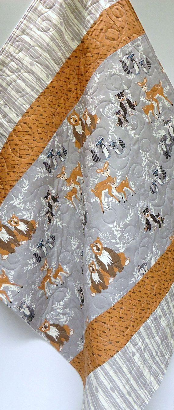 Modern Baby Quilt-Hello Bear and Organic Birch Fabric-Grey Gray Arrows Woodgrain-Bear-Deer-Fox-Raccoon-Woodland Baby Blanket This quilt