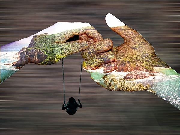 ' Earth Child ' - in the hands of nature . Art Print   #art  #prints  #nature #contemporaryart  #hands #earth