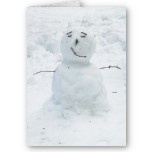 Adorable and quirky snowman in white and light blues. Unique card that you can't help but smile when you see it.