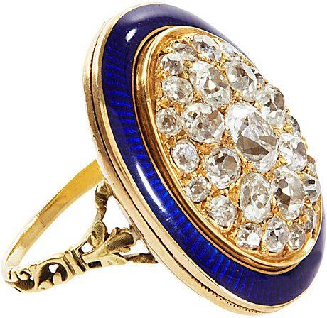 Diamond Enamel Oval Ring