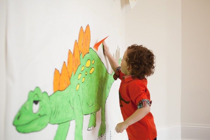 Pin the Spike on the Dinosauer! Rustic Dinosaur Party For Kids