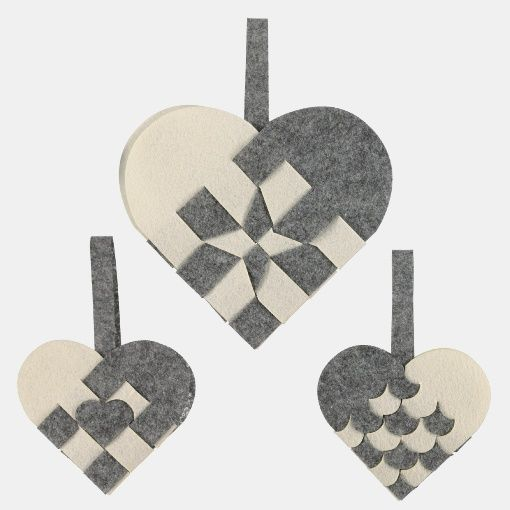 Kit felt X-mas hearts 5 pcs grey/nature - Stoff & Stil