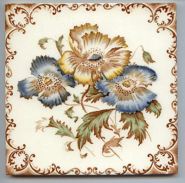 Victorian Majolica Aesthetic Style - FLOWERS - 1890 to 1900 - Ceramic Tile