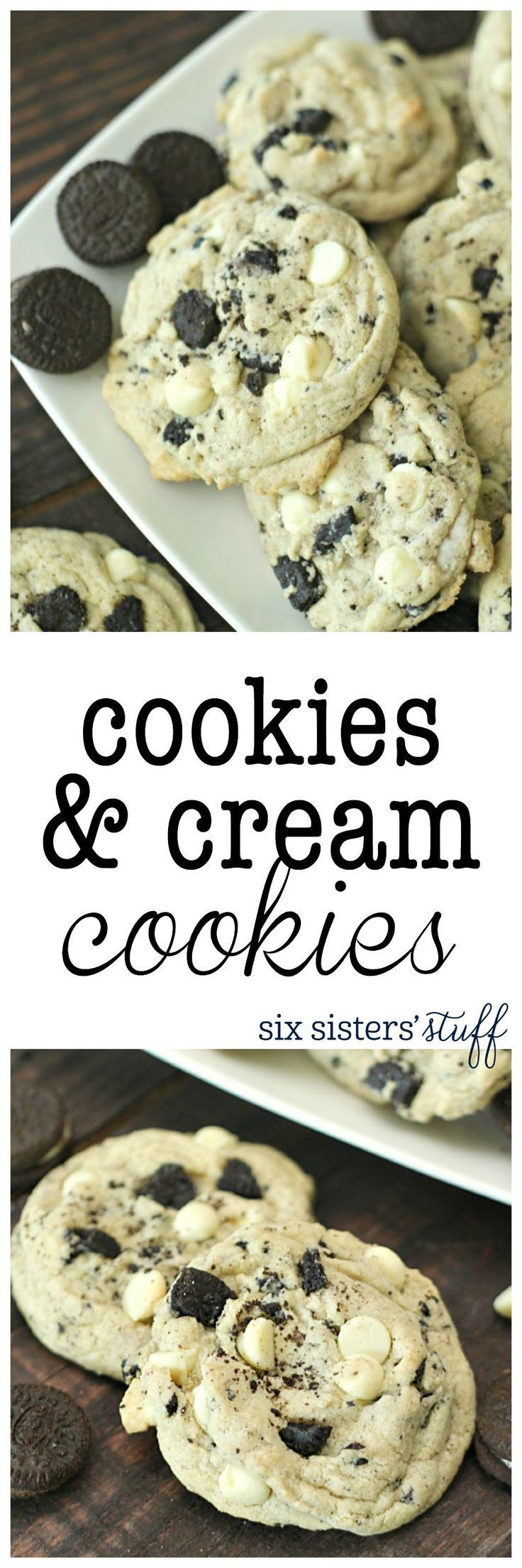Cookies and Cream Cookies recipe from SixSistersStuff.com | These cookies are loaded with Oreo's and the secret ingredient is a box of cookies and cream pudding, making them so soft and full of amazin (Dessert Recipes)